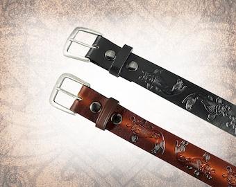Japanese Koi Belt - Black or Russet - Leather Belt, Brown Leather Belt, Mens Leather Belt, Women's Leather Belt (1 Belt Only)