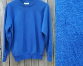 Vintage Raglan Sweatshirt  //  Vtg Made in the USA Plain and Simple Soft Distressed Trashed Blue Fleece Crew Neck Top