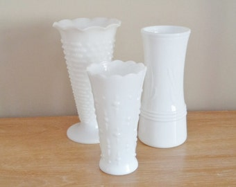 Vintage Large Milk Glass Flower Vases Set of 3 Mixed Patterns