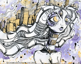 Urban Goddess Tea Painting