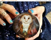 ON SALE Owl Mountain Pocket Mirror | owl accessory gift for girl | art by Meluseena