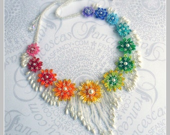 Rainbow of Flowers Necklace : Multicolor Adornment