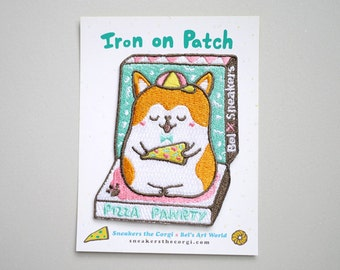 Pizza Corgi -  Pizza Pawrty Iron On Patch