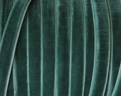 3 Yards Velvet Ribbon Trim In Soft Green .25 Inch Wide 1/4 Inch Wide