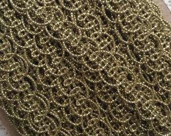 2 Yards Fancy Metallic And Fabric Sewing Trim In Gold Old Store Stock  MT 09