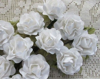 Paper Flowers 12 Open Millinery Roses In White