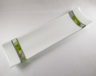 Fused Glass Plate Canape Appetizer Dessert Set Entertaining Serving Tray and Six Coordinated Matching Individual Plates