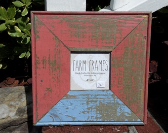 4 x 4 PINK and BLUE old vintage wood picture frame