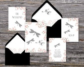 Secret Garden Wedding Invitation (Dragonfly, Pink Cherry Blossoms with Your Pick of Envelopes) - Park Collection Deposit