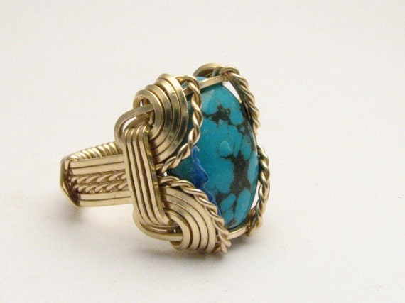 Oval Wire Wrap Turquoise Sterling Silver / Gold Filled Ring. choose gem size, ring size, wire round,square or twisted