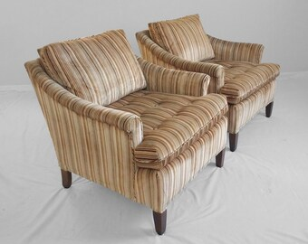 2 vintage MODERN transitional style rolled arm club chairs