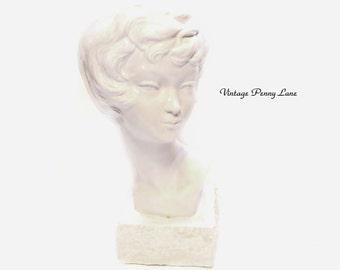 Vintage Lady Bust / Head, White Ceramic Sculpture