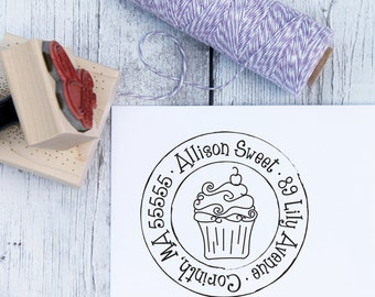 Custom Address Stamp - Cutie Cupcake, Kids Stamp, Rubber Stamp, Wooden Stamp, Self Inking Stamp, Bakery, Personalized Stamp, Sweet