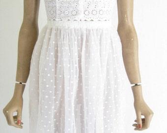 Vintage 60's Crinoline// White  Petticoat Slip Skirt.