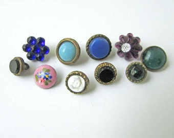 Group of 10 Different Antique Victorian 1880's Vintage Glass Jewels w Metals Small Buttons for Collection, Jewelry, Recycled Supplies
