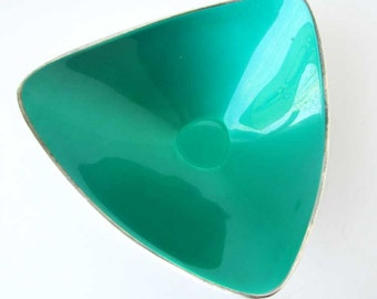 Mid Century Vintage Reed & Barton Silver Plate with Teal Green Enamel Modern Design Candy Dish, Nut Dish, Side Dish