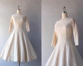 1950s Dress / Vintage 50s White Lace Party Dress / 1950s Cotton Lace Illusion Dress