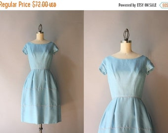STOREWIDE SALE Vintage 1960s Dress / 50s 60s Soft Blue Linen Dress / 60s Tiered Bell Skirt Dress