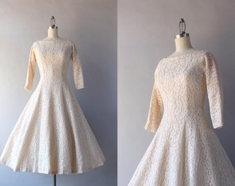 1950s Dress / Vintage 50s White Lace Party Dress / 1950s Cotton Lace Illusion Dress