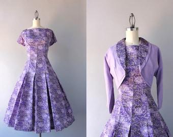 1950s Dress / Vintage 50s Dress with Cropped Jacket / 50s Purple Print Full Skirt Taffeta Dress