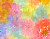 Watercolor Floral Multicolored Sun-Kissed Quilting Treasures Fabric 1 yard