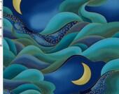 Dragon Moon Indigo Waves Kona Bay Fabric 1 yard