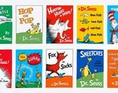 Dr Seuss Book Titles Multi colored Kaufman Fabric Panel