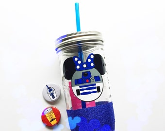 R2D2 Minnie /// Mason Jar Tumbler /// Glitter Tumbler