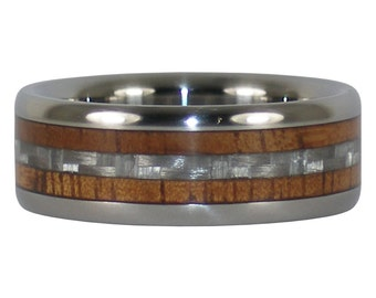 Koa Wood and White Carbon Fiber Ring