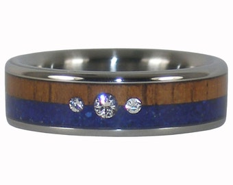 Three Diamond Koa and Lapis Titanium Ring