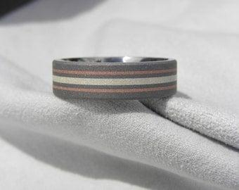 Titanium Silver and Copper Inlay Ring, Wedding Band, Sandblasted