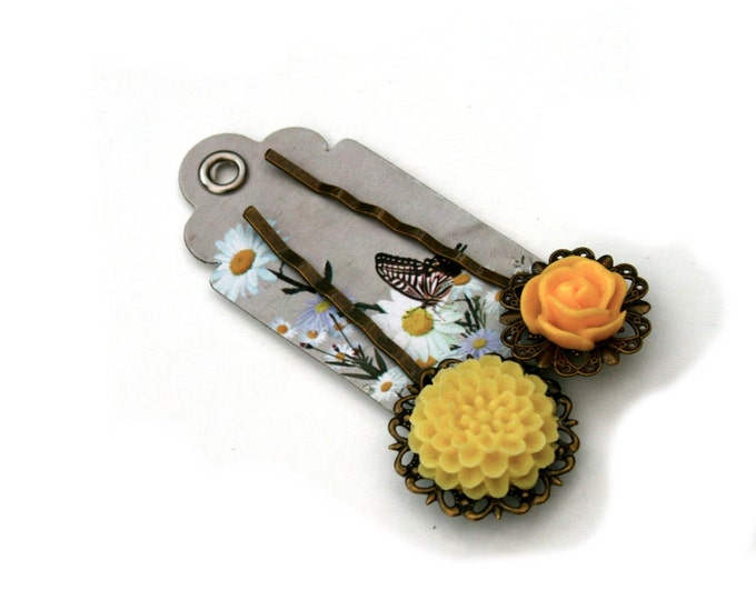 Yellow Flower Bobby Pins, Yellow Hair Grips, Girls Hair Accessory, Set of Two
