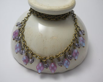 Women's Necklace Artisan Jewelry Vintage Glass Beads Brass Chain Purple Lilac Czech with Crystal Glass Beads Handmade Jewellry One of a Kind
