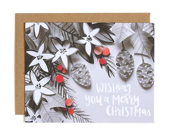 Wishing You a Merry Christmas Illustrated Card // 1canoe2