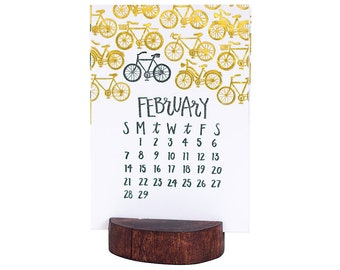 2016 Letterpress Calendar with Wood Stump