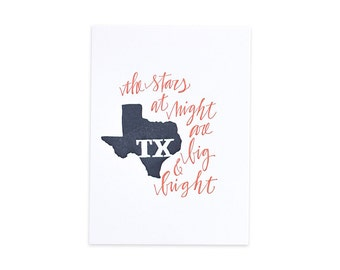 Texas Letterpress State Print // 1canoe2 // Hand illustrated