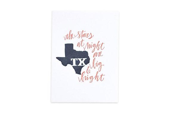 Texas Letterpress State Print // 1canoe2 // Hand illustrated