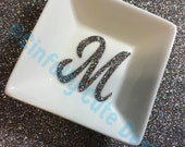 Bling-n-Ring Dish with Sparkly Glitter Initial, Monogram, or Name