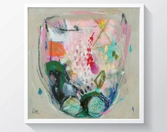 """Abstract painting, Original mixed media painting on gallery canvas, terranium, Ready to hang. 11"""" x 11"""""""