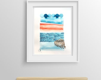 Abstract painting on paper , Original watercolor mixed media , Contemporary Modern Art - A3   11.7 x 16.5 inches