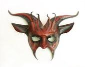 Leather Goat Mask in red and black Devil Krampus