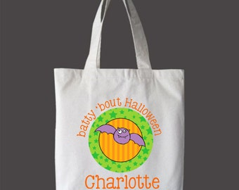 Personalized Halloween Childrens Tote Bag Halloween Treat Bag
