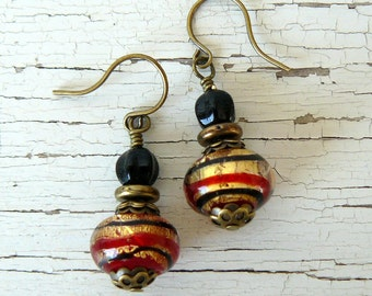 Red and Black Earrings, Red and Gold Glass Bead Dangles, Antique Brass Rustic Bead Drops, Gift For Her