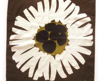 Vintage Scuda Cloth Napkins - Set of FOUR - Brown Black Gold Tan Burst Print - Fabric Napkins