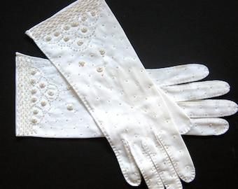White BEADED Evening Gloves - 10 Inch Opera Gloves  - Bridal Gloves Wedding / Size 7