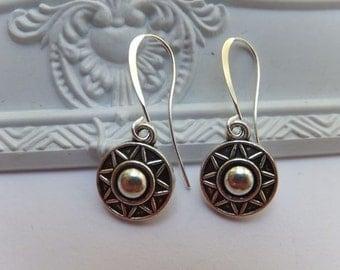 Antique Silver Tibetan Sun Charm Nickel Free Dangle Earrings - nickel free tall french hooks