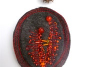 RESERVED for samwestley, SALE Scarlet VI pin, fiber art felt bead embroidery brooch, marked down 50%, hand stitched, ooak, statement brooch
