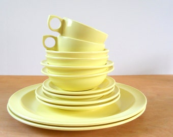 Vintage Melmac Dinnerware • Yellow Prolon Melamine • Place Setting for Two