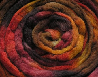 200g Space-Dyed Oatmeal Merino D' Arles Wool Top - Plum Pudding