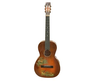 1930s Regal Hawaiian Guitar | Vintage Bathing Graphics | Retro Musical Instrument